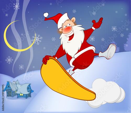 Papiers peints Chambre bébé Illustration of a Skateboarding Santa New Year's Adventure