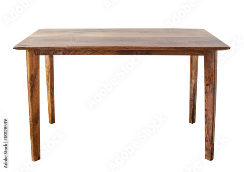 Table on white background.