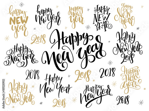 vector set of hand lettering 2018 new year greetings phrases happy new year with