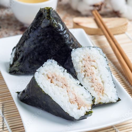 Korean triangle kimbap Samgak made with nori, rice and tuna fish, similar to Japanese rice ball onigiri, square