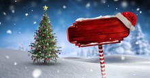 Wooden Signpost In Christmas W...