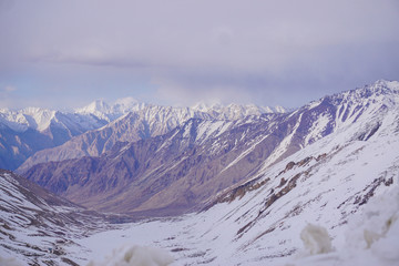 Winter moutains with snow.Leh ladakh.