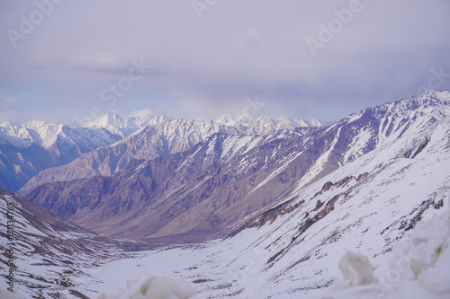 Winter moutains with snow.Leh ladakh.