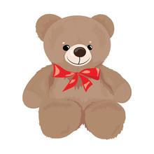 Cartoon Teddy Bear With A Red ...
