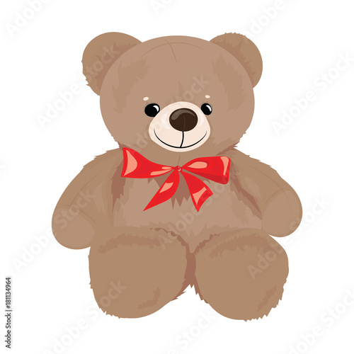 Cartoon teddy bear with a red bow. Plush toy bear for children. Colorful vector illustration for kids.