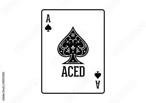 Swirls and Classic Black Spade Ace Poker Cards Casino Illustration Logo SIlhouet плакат