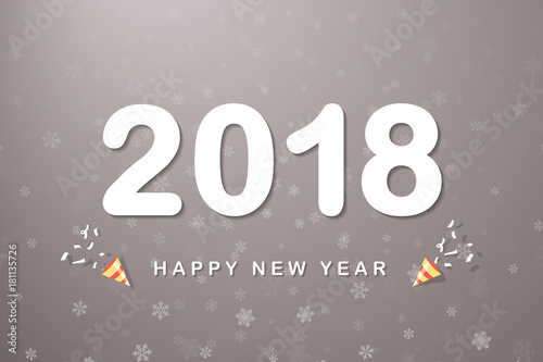 2018 happy new year text with party poppers flags on space gray background colorful