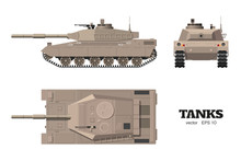 Realistic Tank Blueprint. Armored Car On White Background. Top, Side, Front Views. Army Weapon. War Camouflage Transport