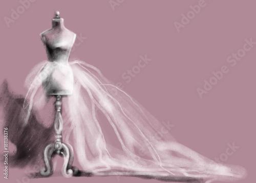 Poster Portrait Aquarelle mannequin and dress. fashion illustration