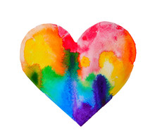 Watercolor Rainbow Heart On Wh...