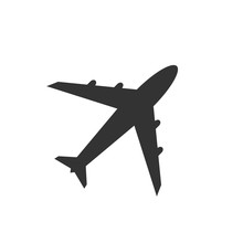 Airplane Icon, Black Isolated ...