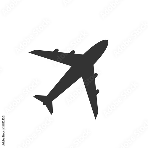 Photo Airplane icon, black isolated on white background, vector illustration