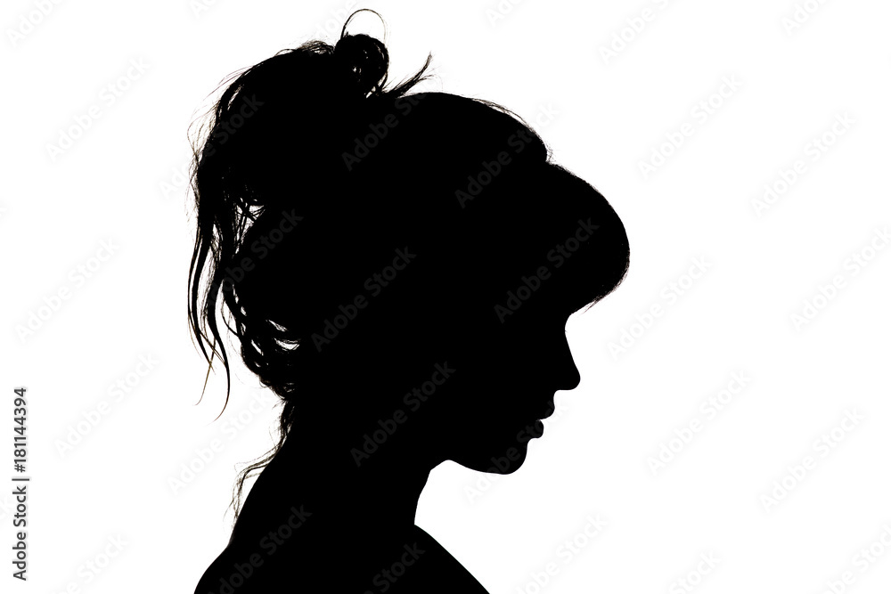 Fototapety, obrazy: silhouette of beautiful profile of female head concept beauty and fashion