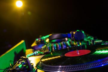 Fototapeta na wymiar sound mixer and vinyl