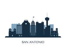 San Antonio Skyline, Monochrom...