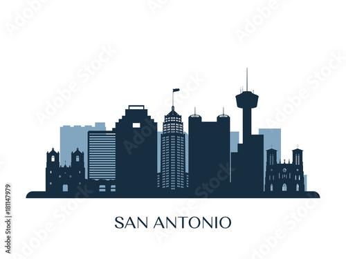 San Antonio skyline, monochrome silhouette. Vector illustration. Canvas Print