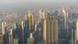 Dubai aerial skyline at sunset.