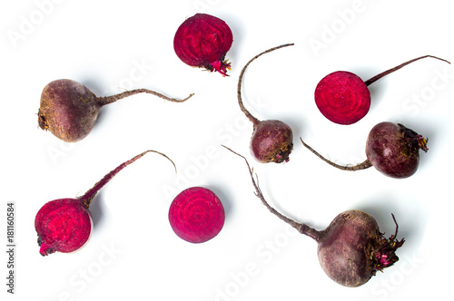 Raw beet isolated on white background