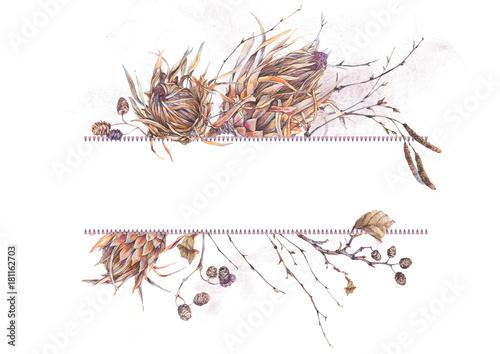 Leinwandbilder - Watercolor botanical frame, Flowers protea