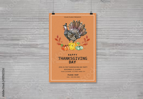 thanksgiving party flyer with colorful turkey illustration buy this
