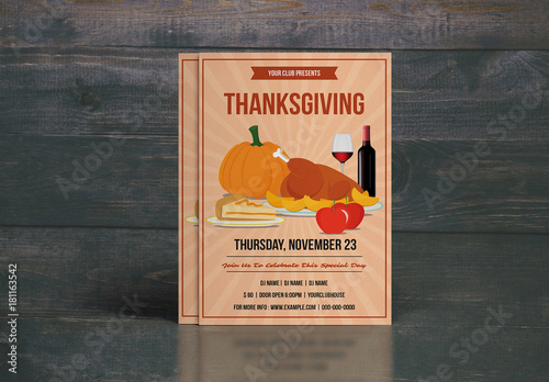 thanksgiving party flyer with turkey dinner illustration 1 buy this
