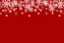 Red Snowflake Horizontal Repeating Vector Background 1