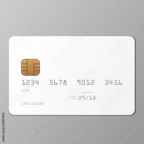 Fotografía  Realistic white credit card mockup template with shadow, vector illustration