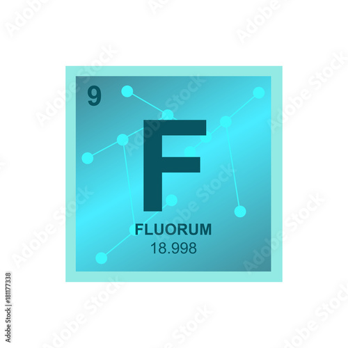 Vector Symbol Of Fluorine From The Periodic Table Of The Elements On