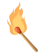 Burning Match Stick Illustration. Match With Fire. Vector Illustration Isolated On White.
