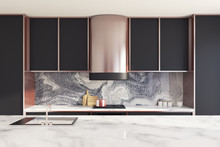 Black And Marble Kitchen Count...