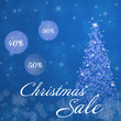 Christmas sale. Christmas trees with bowls and snowflakes in blue winter landscape.