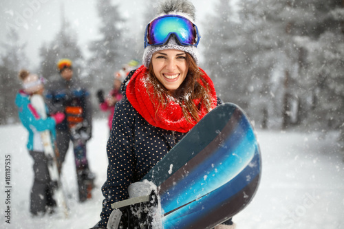 Garden Poster Winter sports portrait of young girl snowboarder