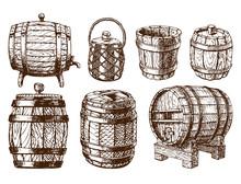 Wooden Barrel Vintage Old Hand...