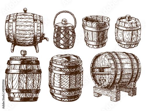 Photographie Wooden barrel vintage old hand drawn sketch storage container liquid beverage fermenting distillery cargo drum lager vector illustration