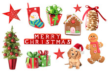 Collection Of Christmas Ornaments And Decoration Including Shortbread Cookies, A Tree, Presents And A Santa Puppy.