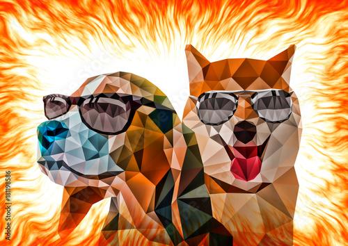 abstrakcyjne-dwa-psy-z-wielokata