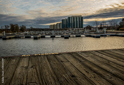 Marina skyscape with hotels and boat docks. Canvas Print