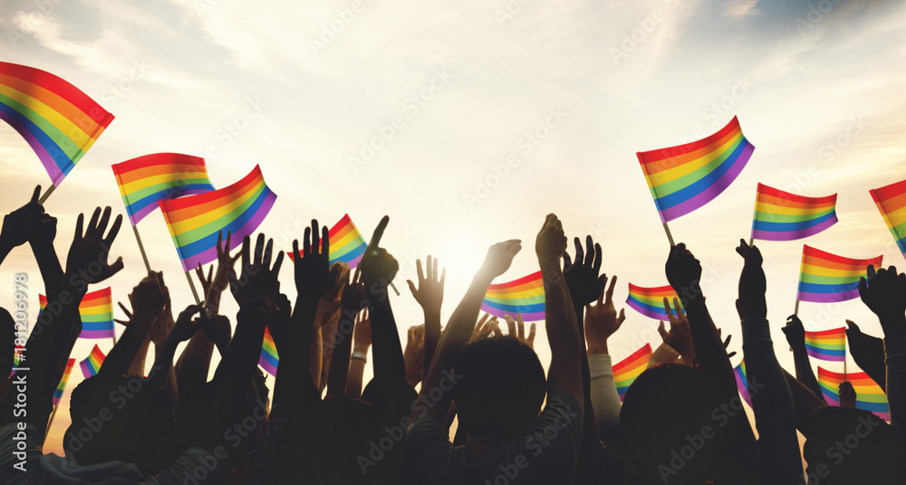 Fototapety, obrazy: A crowd with LGBT rainbow flags