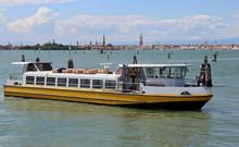 Yellow Boat  Navigates Fast Du...