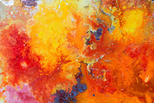 Abstract Painting Color Texture. Bright Artistic Background In Red And Yellow.