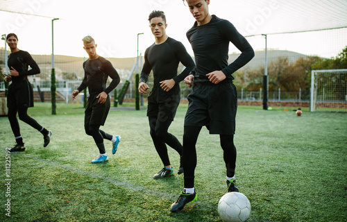 Five a side soccer team training session
