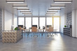 Modern coworking office with reception