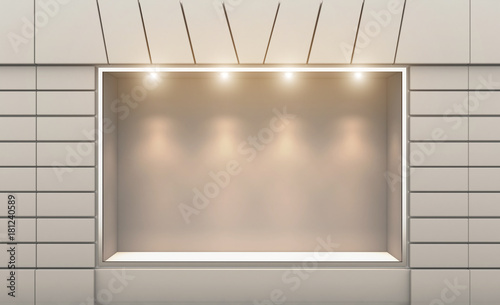 Fotografie, Obraz Shop in the old house. 3d rendering. Lights in the window.