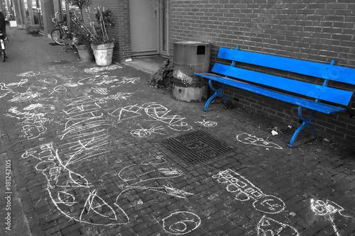 Obraz na dibondzie (fotoboard) Niebieska ławka Amsterdam