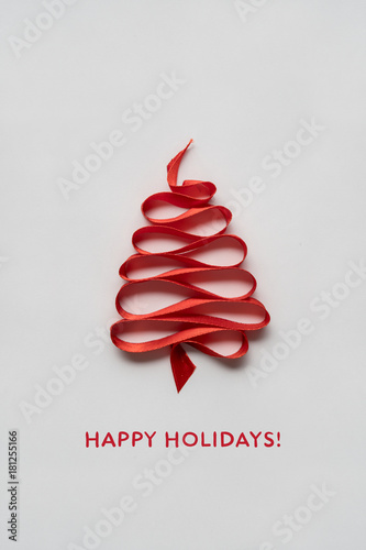 In de dag Bomen Magic tree / Creative concept photo of christmas tree made of ribbon on white background.