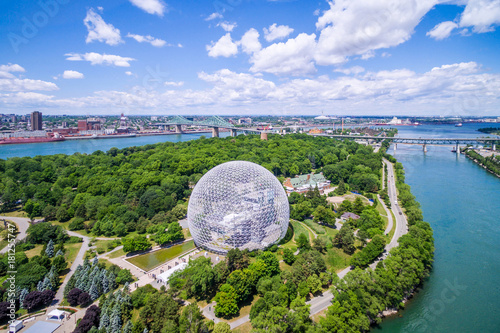 Garden Poster Canada Aerial view of Montreal cityscape including Biosphere and St Lawrence river in Montreal, Quebec, Canada.