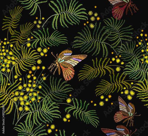 Tuinposter Vlinders Embroidery mimosa flowers and butterflies seamless pattern. Fashion template for clothes, textiles, t-shirt design. Classical embroidery vintage yellow mimosa brunch and tropical butterflies