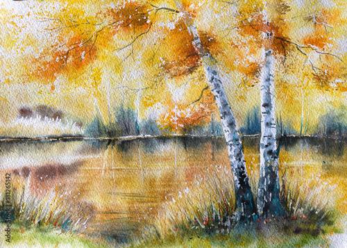 jesien-krajobraz-z-brzoz-drzewami-i-jeziorem-w-tle-obraz-stworzony-akwarelami