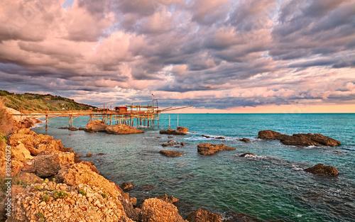 Rocca San Giovanni, Chieti, Abruzzo, Italy: the Adriatic sea coast with a fishin Canvas Print