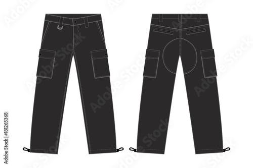 Fotografie, Obraz  Illustration of men's cargo pants(black)